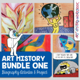 Art History Activities Bundle: Picasso, Lichtenstein, OKeeffe, Kandinsky, Haring