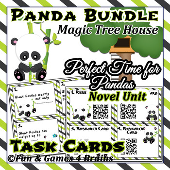 Bundle Nonfiction Panda task cards and  MTH A Perfect Time for Pandas Novel Unit
