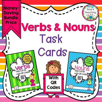 Bundle Nouns and Verbs Task Cards with QR Codes