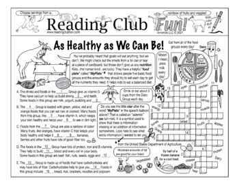 Bundle: Nutrition and Food Groups Two-Page Activity Set and Word Search Puzzle