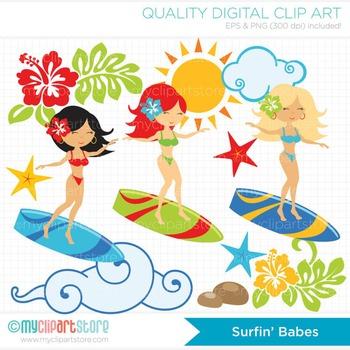 CLIPART BULK PACK - Aloha / Ocean / Beach / Surfing Clipart