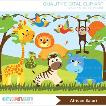 CLIPART BULK PACK - Farm / Jungle / Safari Animals Clipart