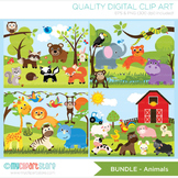 CLIPART BULK PACK - Farm / Jungle / Safari Animals Clipart