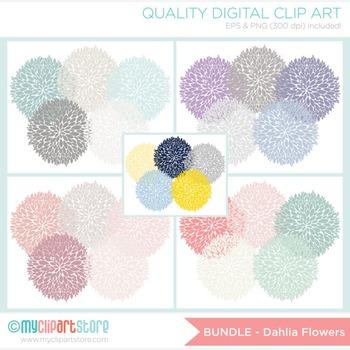 CLIPART BULK PACK - Dahlia Flowers Clipart