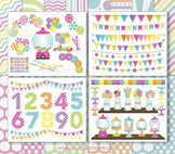BIG BUNDLE - Candyland, Sweets, Candy Clipart and Digital Paper