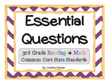 Essential Questions Posters Bundle Pack - 3rd Grade Reading & Math CCSS