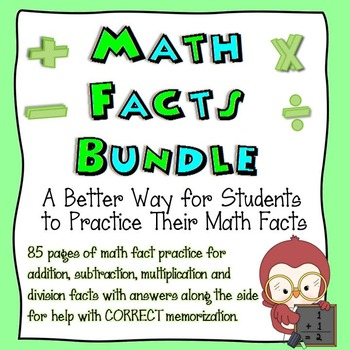 Bundle Pack: Math Facts Worksheets (+, -, x, ÷)