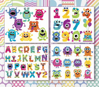 CLIPART BULK PACK -  Monsters Clipart