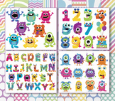 BIG BUNDLE - Monsters Clipart and Digital Papers, Rainbow Colors, Birthday Party