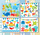 BIG BUNDLE - Under The Sea, Fish, Beach Clipart and Digita