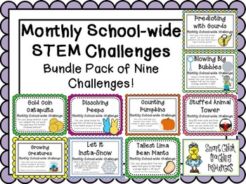 Bundle Pack of 9 Monthly School-Wide STEM Challenges! Set #1