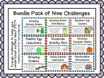 Bundle Pack of 9 Monthly School-Wide STEM Challenges! Set #2
