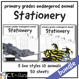 Writing Paper Stationery | Endangered Animals  | Primary | Dashed Line | Wide