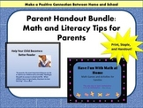 Parent Handouts for Literacy and Math Building Skills at Home