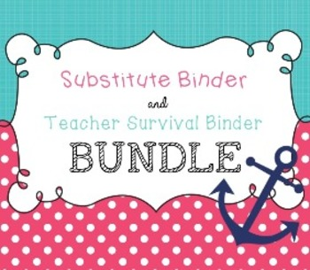 BUNDLE { Pink & Aqua Nautical } Editable Teacher Survival Binder and Sub Binder