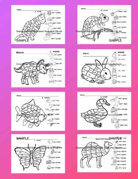 Bundle Color by Color Words, Number Words, CVC Words, Fact Families preK K 1