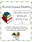 Bundle: Preschool Language Checklists