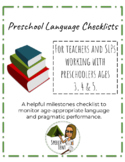 Bundle: Preschool Language Checklists