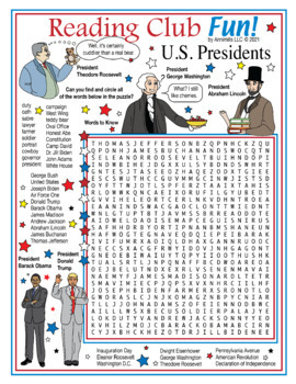 Bundle: Presidents Day and First Ladies Two-Page Activity Set and Word Search