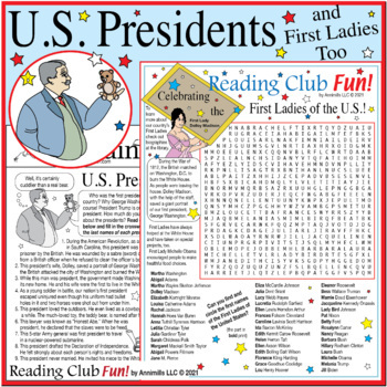 Bundle: Presidents Day and First Ladies Two-Page Activity
