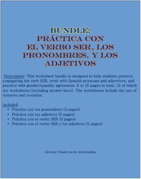 Bundle: Pronombres, Adjetivos, and el verbo SER