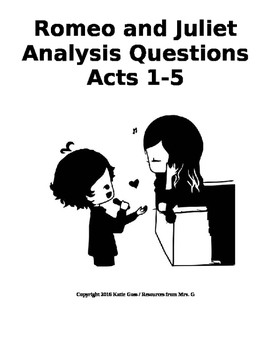 Bundle: Romeo and Juliet Close Reading / Analysis Questions, Acts 1-5