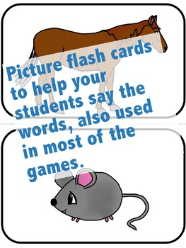 Bundle: Set of all 4 Animals Flash Cards, Activities, and Games for ELL and ESL