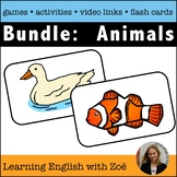 Bundle: Set of all 4 Animals Flash Cards, Activities, and
