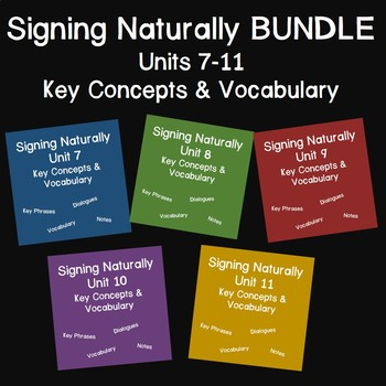 Bundle: Signing Naturally Units 7-11 Key Concepts and Vocabulary (Level 1)