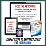 Simple Steps to Sentence Sense for High School Google Drive Interactive Workbook
