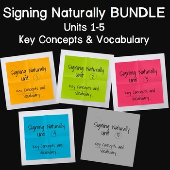 Bundle: Signing Naturally Key Concepts and Vocabulary Units 1-5 (Level 1)