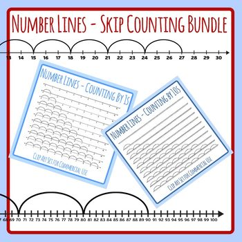 Bundle!  Skip Counting Number Lines Set - Multiply by 1s up to 10s!  110 Images!