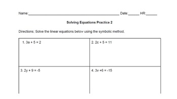 Bundle! Solving Two-Step Linear Equations Centers Activity (Differentiated)
