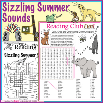 Bundle: Sounds of Summer and Animals Two-Page Activity Set and Word Search