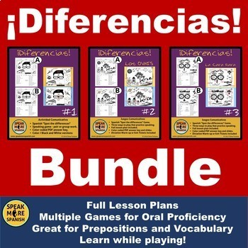 Bundle Spanish Spot the Differences Game for Prepositions and Oral Proficiency