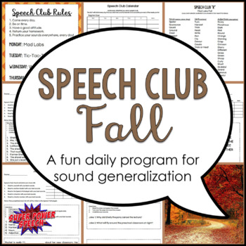 Speech Club Fall (Articulation for Older Students)