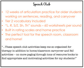 Speech Club Summer (Articulation for Older Students)