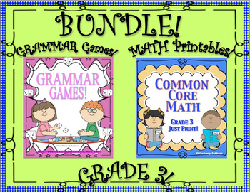 Bundle! Back to School Review!  Grammar Games and Math Printables!  Grade 3