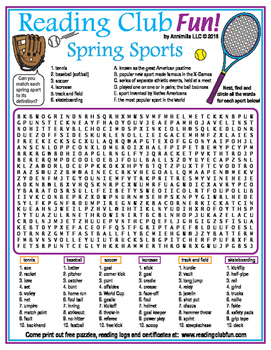 Bundle: Spring Sports and Baseball Two-Page Activity Set and Word Search Puzzle