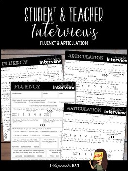 Bundle: Student & Teacher Interviews for Articulation AND Fluency