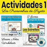 Spanish Subject Pronouns Games Activities Bundle 1