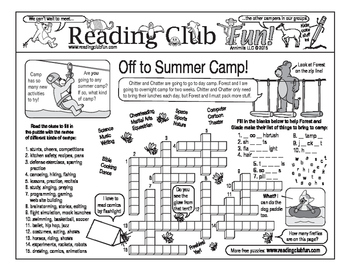Summer Camp and Camping Two-Page Activity Set and Word Search Puzzle