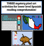Bundle THREE Spanish Cultural Reading Comprehension Mystery Pixel Art Activities
