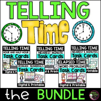 Telling Time Task Cards- BUNDLE SET A