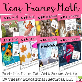 Bundle Tens Frames Add and Subtract within 20 Math Activity Seasonal Holiday