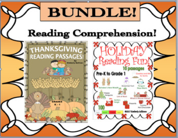 Bundle Thanksgiving Christmas reading comprehension passages and questions k - 1