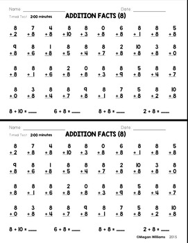 Timed Math Fact Fluency Tests and Flashcards for Addition & Subtraction Bundle