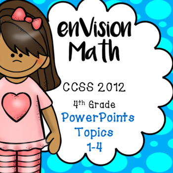 BUNDLE! Topics 1-4 Envision Math Grade 4, Daily Powerpoint Lessons, 490 slides!