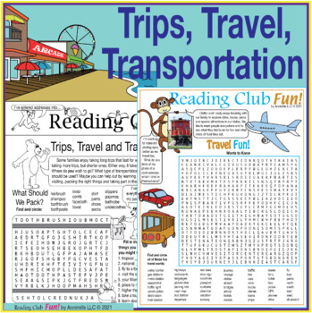 Bundle: Travel and Long Weekends Two-Page Activity Set and