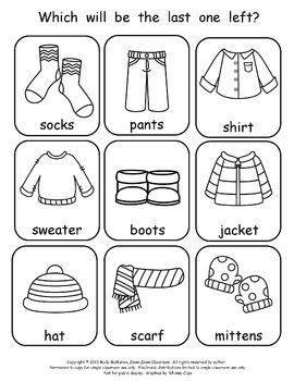 Preschool Bingo Games - Fruit and Cold Weather Clothing